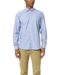 Culturata - Spread Collar Mini Check Shirt - Lyst
