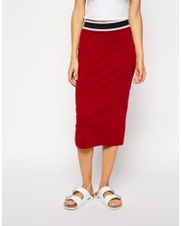 Asos Pencil Skirt with Stripe Elastic Waistband - Lyst