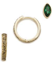 Sunahara - Trio Earring Set - Emerald/gold - Lyst