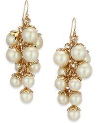 Kate Spade Petaled Faux Pearl Chandelier Earrings - Lyst