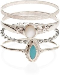 Accessorize - Sterling Silver 4 X Thai Stacking Rings - Lyst