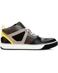 Lanvin Suede And Leather Mid-Top Trainers - Lyst