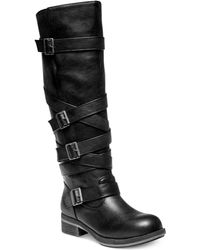 Madden Girl Lilith Tall Shaft Strapped Buckle Boots - Lyst