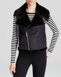 Two By Vince Camuto Faux Shearling Moto Vest - Lyst