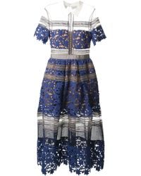 self-portrait Liliana Paneled Floral-Lace And Mesh Dress - Lyst