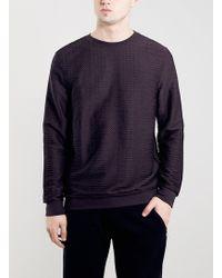 Topman Purple Croc Texture Sweatshirt - Lyst