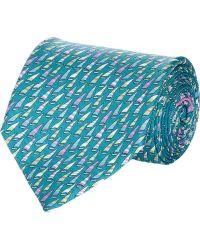 Ferragamo Blue Sailboat-print Tie - Lyst
