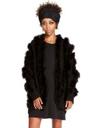DKNY Feather Open Front Cardigan - Lyst