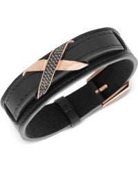 Swarovski Men'S Cross Rose Gold-Tone Black Leather Bracelet