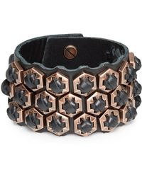 Giles & Brother Woven Leather Hexagon Bracelet - Lyst