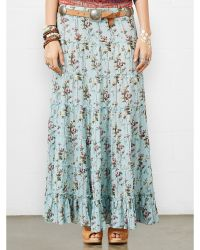 Denim & Supply Ralph Lauren Blue Floral Maxiskirt - Lyst