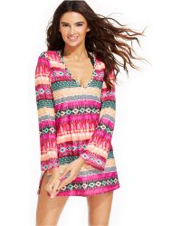 Kenneth Cole Reaction Striped Tunic Cover Up - Lyst