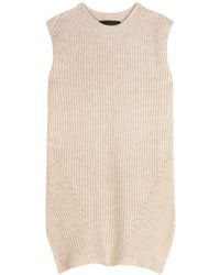 The Row Tippi Knitted Merino Wool And Cashmere-blend Top - Natural