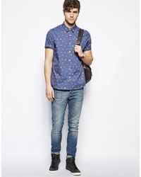 ASOS - Shirt In Short Sleeve With Cat Face Print - Lyst