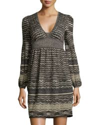 M Missoni V-Neck Long-Sleeve Dress - Lyst
