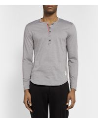 Thom Browne Cotton-Jersey Henley T-Shirt - Lyst