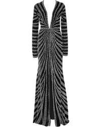 Naeem Khan Linear Beaded Velvet Gown - Lyst