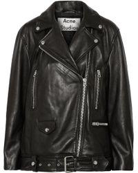 Acne Studios More Oversized Leather Biker Jacket - Lyst
