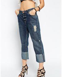 Asos True Boyfriend Jeans In Vintage Wash With Deep Turn Up - Lyst