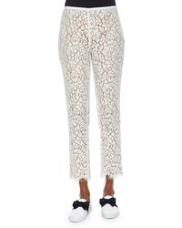Michael Kors Floral Lace Skinny Cropped Pants - Lyst