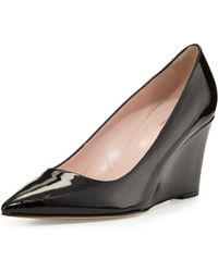 Kate Spade Jovia Pointy-Toe Saffiano Patent Wedge Pump - Lyst