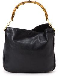 Gucci Black Bamboo Leather Handbag - Lyst