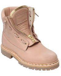 Balmain Taiga Leather Military Boots - Pink
