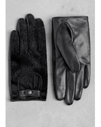 & Other Stories - Faux Fur And Leather Gloves - Lyst