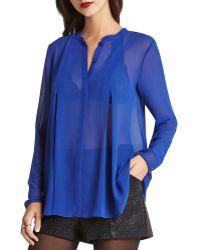 BCBGeneration Sheer Box Pleat Shirt - Blue