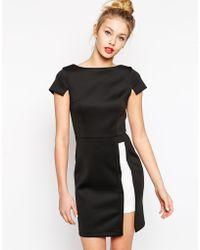 Asos Pencil Dress In Color Block - Lyst