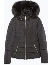 Zara | Quilted Coat With Detachable Hood | Lyst