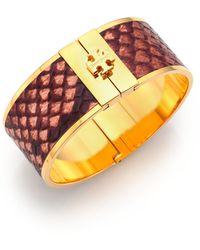 Tory Burch | Skinny Snake-Embossed Leather Inlay Cuff Bracelet | Lyst