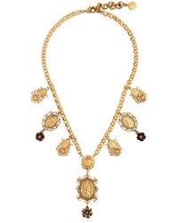 Dolce & Gabbana Gold Plated Metal Pendant Necklace - Lyst