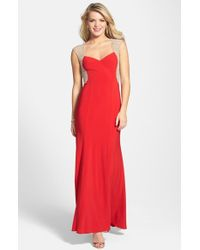 Xscape Beaded Jersey Gown - Lyst