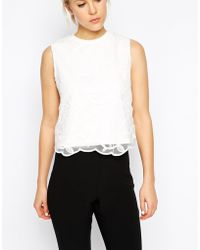 Asos Cropped Top With Premium Embroidery Overlay - Lyst