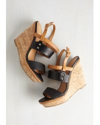 Fortune Dynamic   Keep Up The Good Cork Wedge In Noir   Lyst