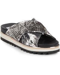 Dolce Vita Shaye Laser-Cut Printed Leather Platform Sandals black - Lyst