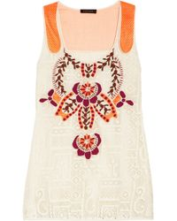 Vineet Bahl Embroidered Lace and Mesh Top - Orange