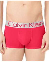 Calvin Klein Mens Steel Microfiber Low-rise Trunks - Lyst