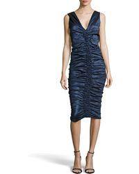 Donna Karan New York Sleeveless Ruched Kneelength Dress - Lyst