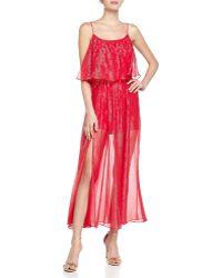 Halston Heritage Tiered Metallic Gown - Lyst