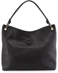 Tory Burch Marion Leather Hobo Bag Black - Lyst