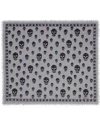 Alexander McQueen Skull Glen Plaid Cotton Scarf - Lyst