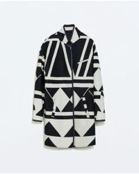 Zara Geometric Wool Coat - Lyst