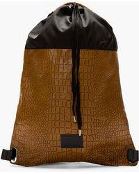 5ad8a757498d Kris Van Assche - Brown Leather Embossed Croc Backpack - Lyst
