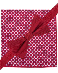 Tommy Hilfiger Solid Bow Tie & Neat Pocket Square Set - Lyst