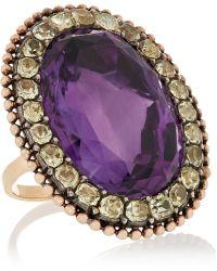 Olivia Collings 1840S 18-Karat Gold, Amethyst And Chrysoberyl Ring - Purple
