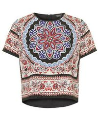 Topshop Scarf Print Placement Tee multicolor - Lyst