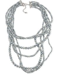 Carolee Silver-tone Imitation Pearl and Glass Bead Layered Necklace - Lyst