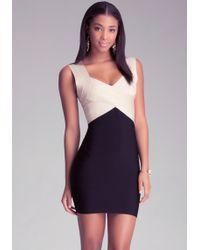 Bebe Colorblock Shimmer Dress - Black